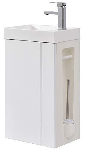 Badmöbel-Set Compact 400 für Gäste-WC - Weiß matt, Ablaufgarnitur/Pop-up:Mit Ablaufgarnitur