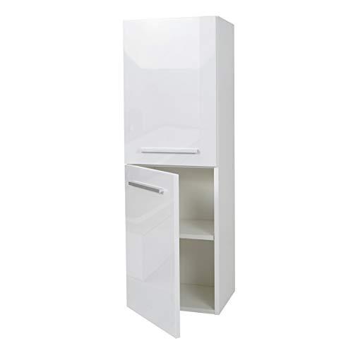 #Mendler Hängeschrank HWC-C11, Midischrank Badschrank Badezimmer Badmöbel, Hochglanz 110x35cm ~ weiß#