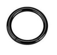 Piercing Boutique anodizzato titanio segmento Anello Naso/sopracciglio/Labret-1,2mm (16g) X 8mm di diametro, colore: nero