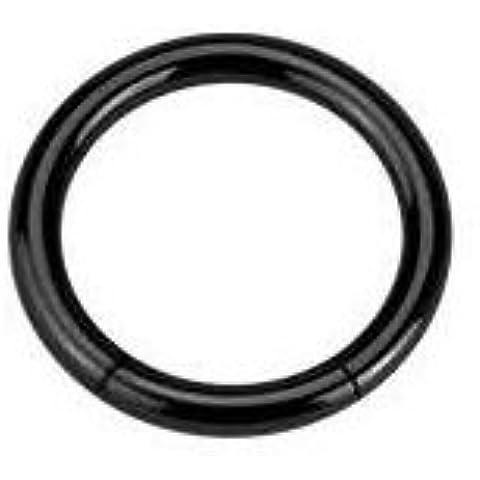 Piercing Boutique anodizzato titanio segmento Anello Naso/sopracciglio/Labret–1,2mm (16g) X 10mm di diametro, colore: nero