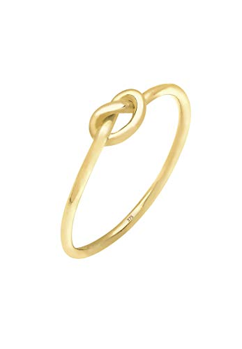Elli Premium Damen Ring mit Knoten Trendsymbol Filigran Blogger Stacking in 375 Gelbgold