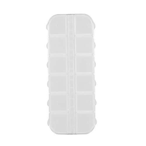 Transparent 12 Grids plastique boîte de rangement Boîte Porte-organisateur multi-fonction pour les bijoux Pill Nail Art Bague drogue