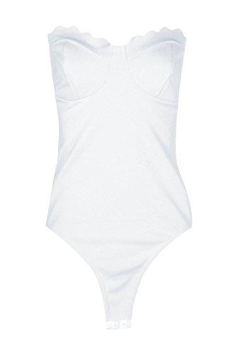 blanc Femmes Katie Body Bandeau À Bords Festonnés Blanc