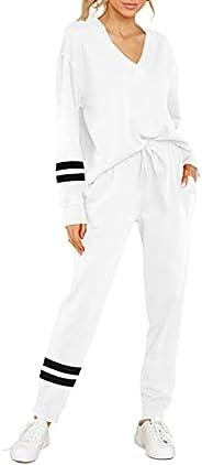FERNGIRL Women's Two Piece Sweatsuit Sets Striped Outfits Long Sleeve Tie Waist Loungewear Sweatpants Athl