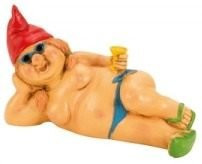 IKO Garden gnome Lady 23 cm large nude cocktail with hat (Red)