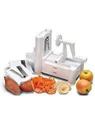 Spirale 3-Klingen-Gemüsehobel Edelstahl NEU Design Spiralizer für Aktenvernichter Chipper und gerade Best Veggie Pasta Spaghetti Maker Low Carb/Paleo/glutenfrei Mahlzeiten
