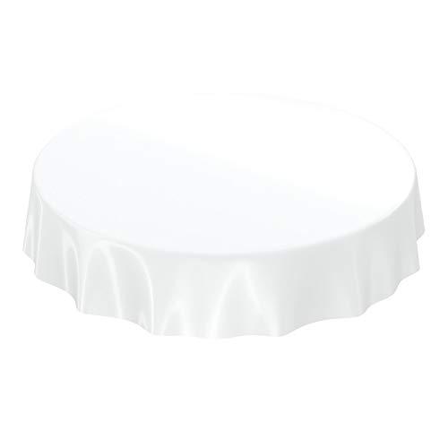 ANRO Wachstuchtischdecke Wachstuch abwaschbare Tischdecke Uni Glanz Einfarbig Weiß Rund 120cm (120 Weiße Runde Tischdecke)