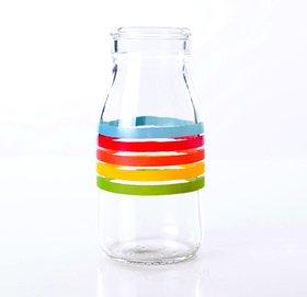 3 Vintage traditionelle Glas-Milchfalsche mit Regenbogen-Streifen (3. Antrag)