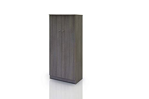 Esidra armadio scarpiera a 2 ante, legno scuro, 62 x 34 x 147 cm