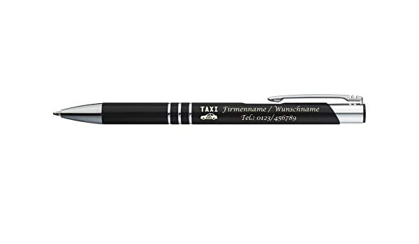 """Kugelschreiber mit Gravur /""""Herzen/"""" schwarz aus Metall Farbe"""