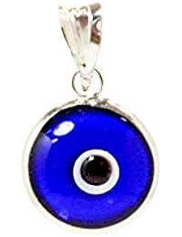 Pendentif avec charme de mauvais œil en verre de 10 mm en argent sterling  925- 5b370439aaea