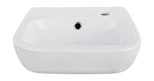 AquaSu 56075 7 Handwaschbecken Nugolo, weiß, 40 cm-Hahnloch rechts