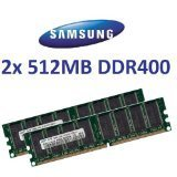 1GB DUAL CHANNEL KIT: SAMSUNG original 2x 512 MB 184 pin DDR-400 (400Mhz PC-3200 CL3) DIMM 64Mx8x8 single side für PC's - 100% kompatibel zu 333Mhz PC-2700 / 266Mhz PC-2100 -