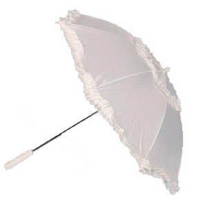 Preisvergleich Produktbild Schirm mit Rüschen, weiß Ø ca. 70 cm PREISHIT