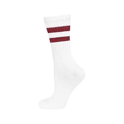 soxo Damen und Herren Socken | Unisex Klassische Retro Sportsocken | Weiß mit Streifen -