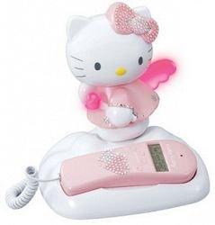 Hello Kitty - Teléfono con aplicaciones de estrás, diseño con figura de Hello Kitty, color blanco y rosa