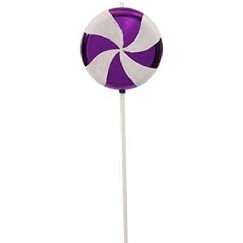 Vickerman Christmas Trees M110736 Swirl Lollipop Ornament, 24-Inch, Purple/White by Vickerman