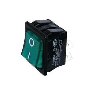 ARCOLECTRIC SWITCHES C1353AT0/1GRN ROCKER SWITCH, DPST, 20A, 250VAC, GREEN by ARCOLECTRIC SWITCHES