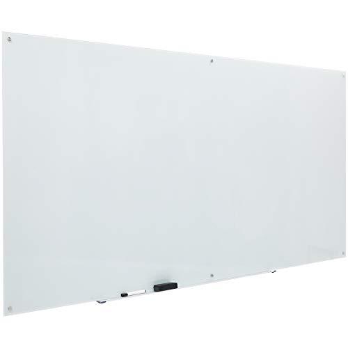 AmazonBasics - Pizarra de borrado en seco de vidrio - Blanca, magnética, 2,43 x 1,21 m