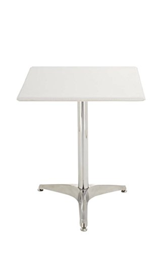 CLP Metall-Bistrotisch mit Kunstledebezug | Eckiger Tisch mit robustem Eisengestell | In verschiedenen Farben erhältlich Weiß