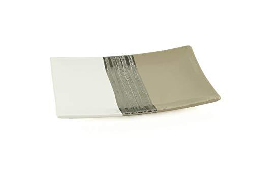 Lifestyle & More Moderne Dekoschale Obstschale Schale aus Keramik weiß/beige 26x16 cm