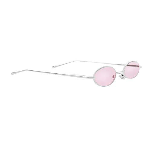 P Prettyia Mode Retro Kleine Ovale Sonnenbrille Metallrahmen Shades Brillen - Rosa Linse + Silberrahmen