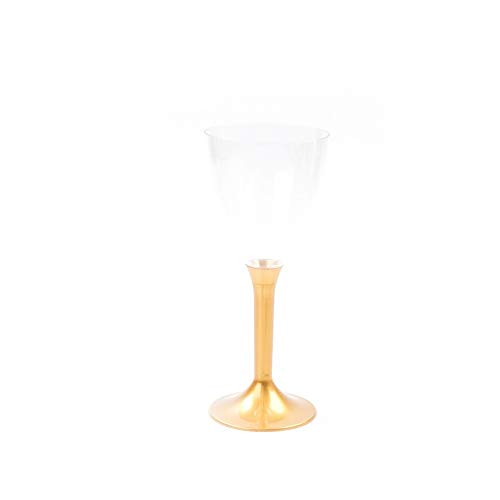 Sovie Servingsware | Einweg Wein- und Wassergläser mit Stiel aus Plastik (PS), Perlmutt-Gold, 180ml | Weinglas Kelch | 6 Stück -