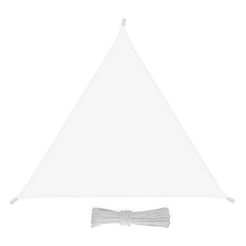 Eglemtek tenda da sole triangolare da esterno, protezione dai raggi uv, resistente e anti-strappo, tessuto in polietilene, (3 x 3 x 3 m, bianco)