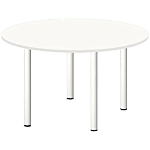Mesa Redonda Blanca de diametro 120 cm y grosor de 2 cm , con 4 patas de acero lacado en blanco