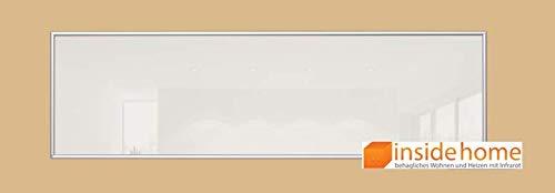 insidehome | Infrarotheizung Glasheizung ELEGANCE |Glas mit 10mm Alurahmen | deutsche Top - Qualität |210 - 1400 Watt | Farbe: weiss (320 Watt - 120x35 cm)