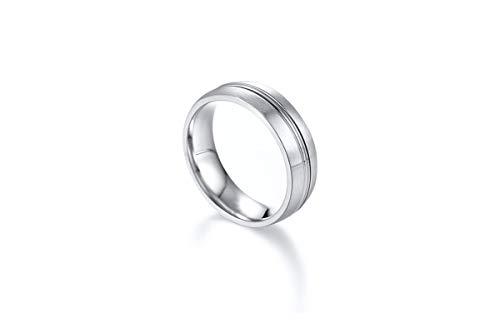 Blisfille Ringe Silber Herren Ringe Männer Herr Der Ringe Edelstahl Ring Für Herren Damen Band Silver Line Brushed Silber Gr. 67 (21.3)