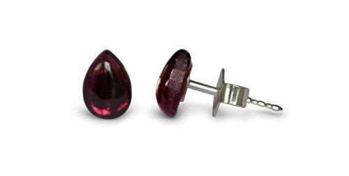 Granat Ohrstecker, natürlich, rot, Tropfen, 7x5mm, 925 Silber