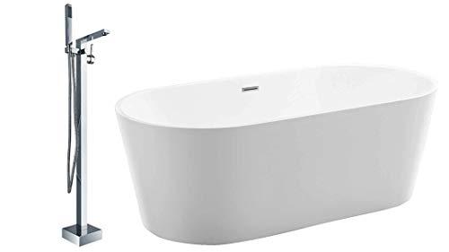 Freistehende Badewanne MIO aus Acryl weiß - Größe und Standarmatur wählbar, Standarmatur:Inkl. Standarmatur 1521, Siphon:Ohne Siphon, Größen:150 x 75 cm