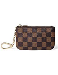 Daisy Rose X Katy Roach Luxus Zip Checkered Schlüsselanhänger Pouch | Pu Vegan Leder Mini Geldbörse Geldbörse mit Haken Klein Braun