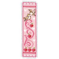 Vervaco PN-0143783 Lesezeichen rosa Vögel und ďpfel aida