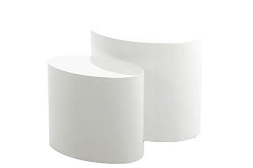 AC Design Rico, Bois, Blanc Brillant, 33 x 48 x 40 cm et 24,5 x 40 x 33 cm