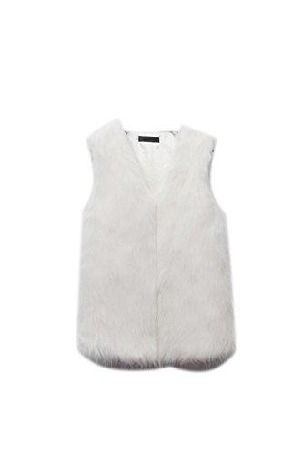Donna Elegante Senza Maniche In Autunno - Inverno Cardigan Giacca Aperta Davanti Panciotto White