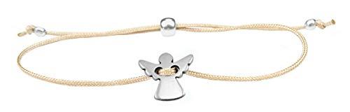 Imagen de pulsera de ángel de la guarda de milosa, plata, hecha a mano y ajustable en tamaño, amuleto de la suerte para mujeres y niñas, colgante de ángel, pulsera de macramé beige