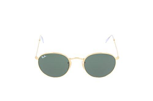 Ray-Ban-RB3447-Round-Metal-Gafas-de-sol-Ovaladas-50-Dorado-Crystal-Green