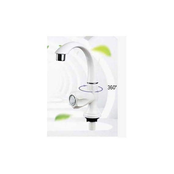 Bath Guru PVC Swan Neck/Tap for Kitchen, Bathroom Wash Basins (White)