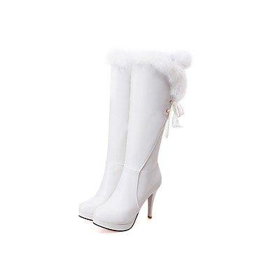RTRY Scarpe Da Donna In Similpelle Di Moda Invernale Stivali Stivali Tacco Basso Punta Tonda Mid-Calf Scarponi Per Abbigliamento Casual Bianco Nero US8.5 / EU39 / UK6.5 / CN40