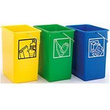 PLASTICOS HELGUEFER - PACK DE 3 CUBOS ECOLOGICOS SELECTIVOS DE 15 LITROS (SIN TAPA)