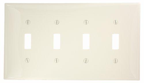 Leviton 4-way Toggle (Leviton PJ4-T 4-Gang Toggle Switch Wallplate, Midway Size, Light Almond by Leviton)