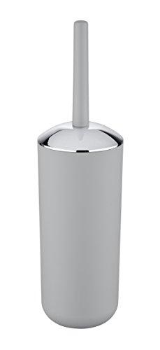 WENKO 22248502 WC-Garnitur Brasil Grau - WC-Bürstenhalter, absolut bruchsicher, Thermoplastischer Kunststoff (TPE), 10cm x 10cm x 37cm, Grau