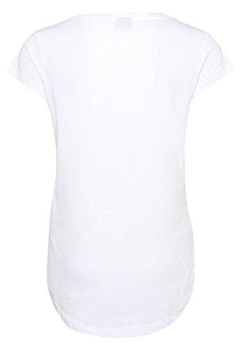 Stitch & Soul Damen T-Shirt mit buntem Blumen Print | Elegantes Shirt mit floralem Aufdruck White