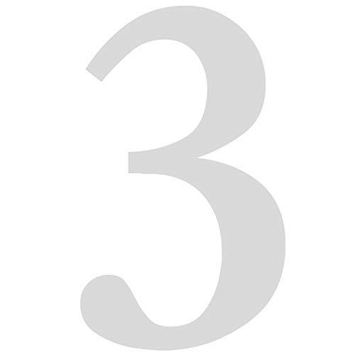 Haus-nr. (Zahlen-Aufkleber Nr. 3 in silber I Höhe 30 cm I selbstklebende Haus-Nummer, Ziffer zum Aufkleben für Außen, Briefkasten, Tür I wetterfest I kfz_481_3)