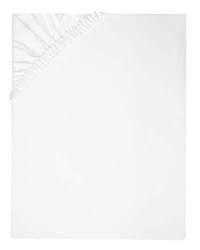 ZOLLNER Spannbettlaken, 100x200 cm, 80% Baumwolle 20% Polyamid, 185g/m², Weiß -
