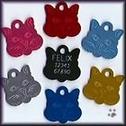 Cat Face Pet Tag 22mm And 30mm Various Colours From Melian - MESSAGE US WITH COLOUR, SIZE & TEXT REQUIRED.
