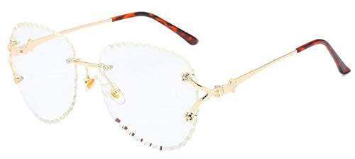 KONGYUER Sonnenbrillen, Brillen,Klare Luxus Randlose Sonnenbrille Frauen Marken Klare Linse Übergroßen Vintage Shades Sonnenbrille Für Frauen Weibliche Transparente Brillen