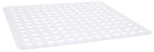InterDesign Basic Alfombrilla escurreplatos, rejilla de plástico PVC mediana para pila, protector de fregaderos de cocina, transparente